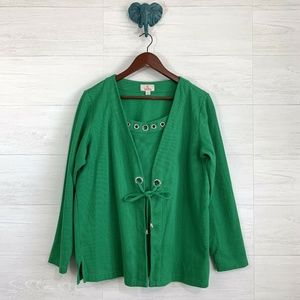 Quacker Factory Kelly Green Rhinestone Twofor Top